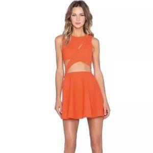 NBD X Naven Twins Orange Cut Out Dress Revolve NWT